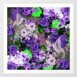 PARROTS Magnolias Hydrangeas Tropical Flower Pattern Art Print