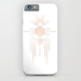 Mandala Flower of Life Moon Pink Rose Gold iPhone Case