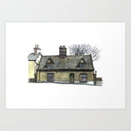 English Pebble-dashed Cottage Art Print