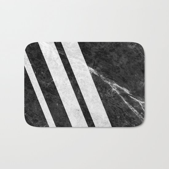 Black Striped Marble Bath Mat