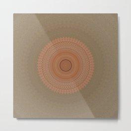 Coral Peach and Taupe Mandala Metal Print