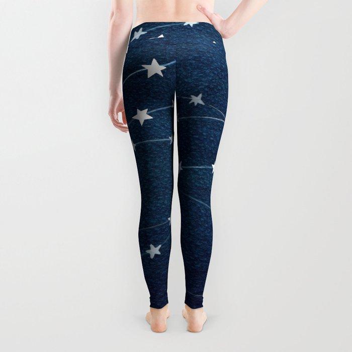 Garlands of stars, watercolor teal ocean Leggings
