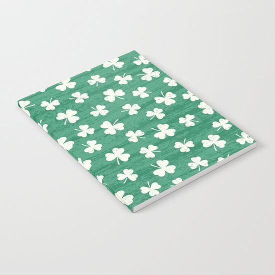 DANCING SHAMROCKS on green Notebook
