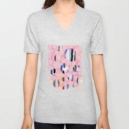 Pink Abstract Platelet #expressive #pink Unisex V-Neck
