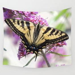 Western Tiger Swallowtail on the Neighbor's Butterfly Bush Wall Tapestry