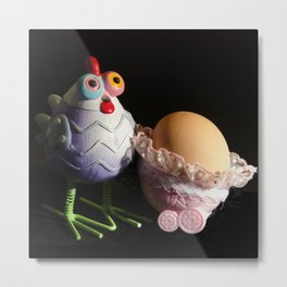Chicken with her baby Egg Metal Print