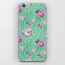 Blossom Willow Flower Pattern Turquoise & Pink iPhone Skin
