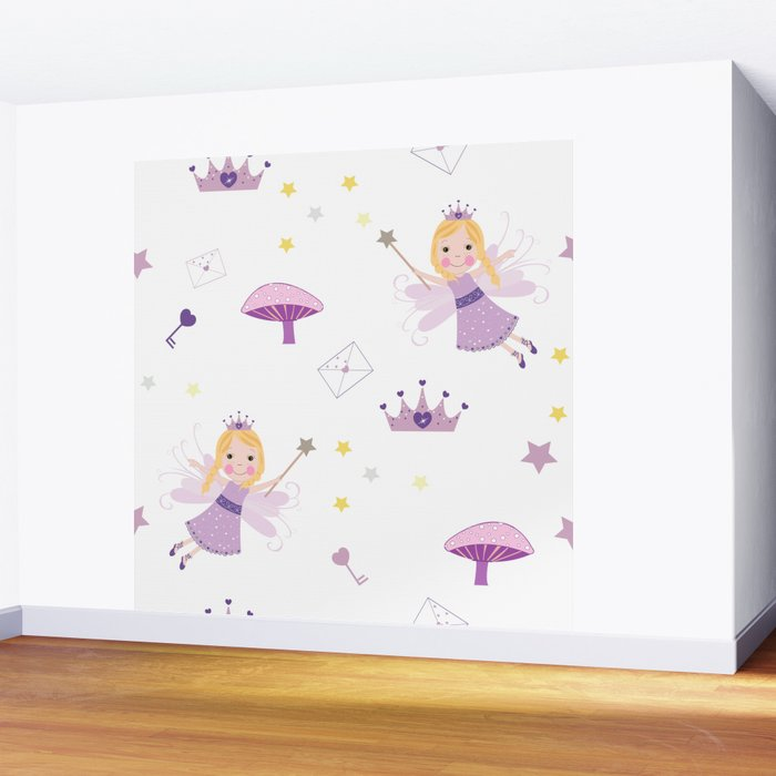 Cute Fairytale Pattern With Stars, Mushroom and Magic Wand Pattern Wall Mural