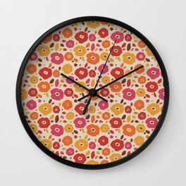 Vintage Colorful Flower Pattern Wall Clock