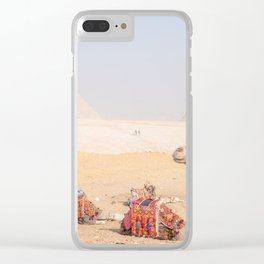 Camel at Pyramids of Giza Egypt Cairo Clear iPhone Case