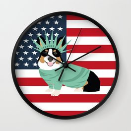 Tri Corgi July 4th Independence Day USA Wall Clock