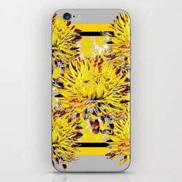 Abstracted Grey-Yellow Chrysanthemums Floral iPhone Skin