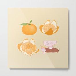 Cute tangerine cartoon artwork Metal Print