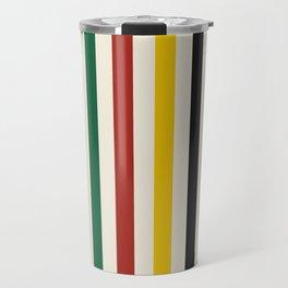 Rustic Lodge Stripes Black Yellow Red Green Travel Mug