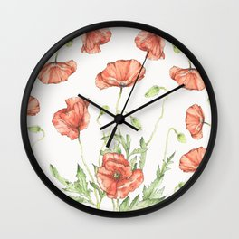 Fragile Beauty - Watercolor Poppies Wall Clock