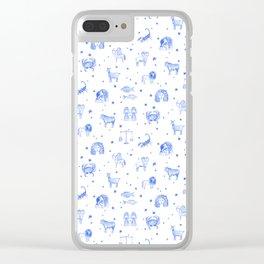 Blue Zodiac Clear iPhone Case