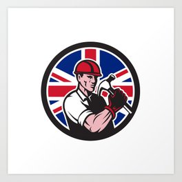 British Handyman Union Jack Flag Icon Art Print