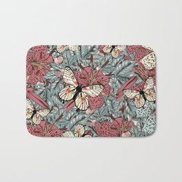 Classic vintage styled pattern with leafs and flowers Bath Mat