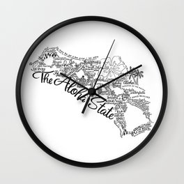 Hawaii - Hand Lettered Map Wall Clock