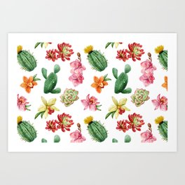 Watercolor Cactus on white background Art Print