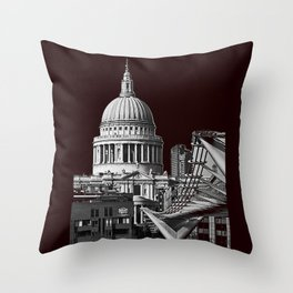 St Pauls Cathederal, London. B&W Throw Pillow