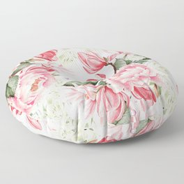 Floral Kingdom Watercolor Painting Pink Red Peony Flowers Painting Green Leaves Floral Design Floor Pillow