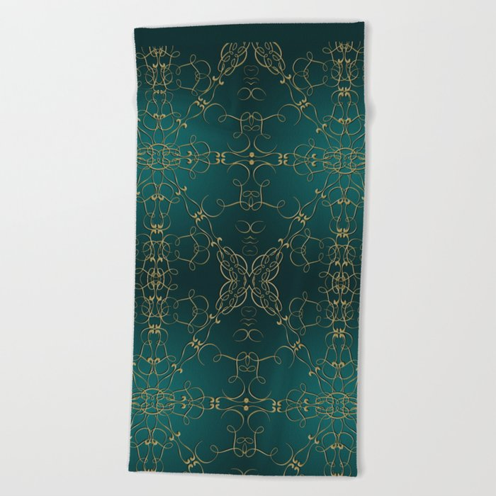 Gold Teal Mandala Beach Towel