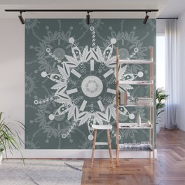 White and Charcoal Mandala, Transparent Textile Wall Mural