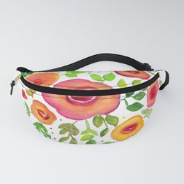 Bright Flowers Floral Bouquet - Watercolor Painting Fanny Pack