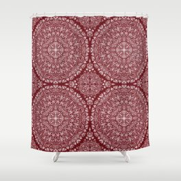 Circle Pattern - Red Shower Curtain