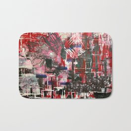 Red Cityscape Bath Mat