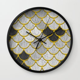 Dragon Scales with Yellow Outlines Wall Clock