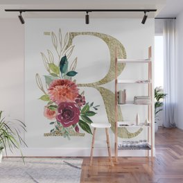 Letter R Monogram Gold and Watercolor Flowers Wall Mural