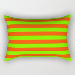 Super Bright Neon Orange and Green Horizontal Beach Hut Stripes Rectangular Pillow