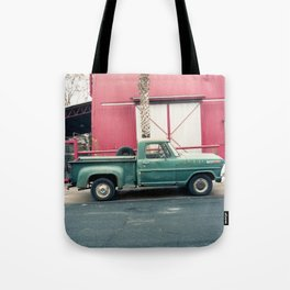 Old Truck & Red Building Tote Bag