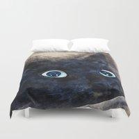 black cat Duvet Covers featuring Black cat by jbjart