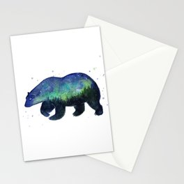 Polar Bear Silhouette with Northern Lights Galaxy Stationery Cards