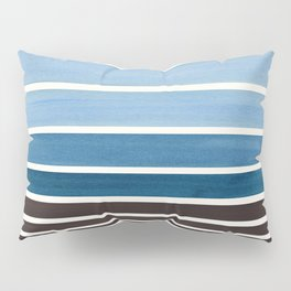 Green Blue Minimalist Watercolor Mid Century Staggered Stripes Rothko Color Block Geometric Art Pillow Sham
