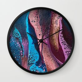 Psychedelic pink and turquoise lacing Wall Clock