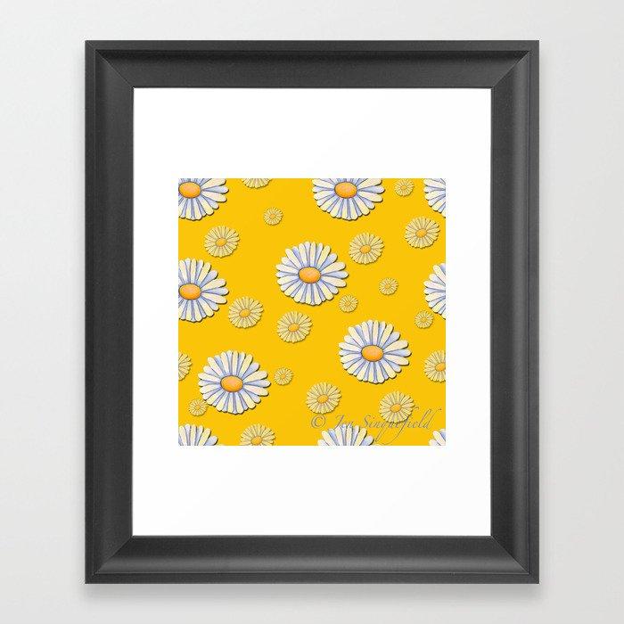 Tossed White Daisies Yellow Background Gerahmter Kunstdruck