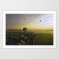 hot air balloons Art Prints featuring HOT AIR BALLOONS by Sara Ahlgren