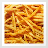 french fries Art Prints featuring French Fries by I Love Decor