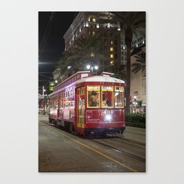 New Orleans Canal Street Car at Night Canvas Print