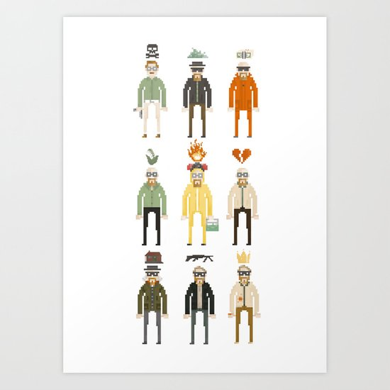 Walter White Pixelart Transformation- Breaking Bad Art Print