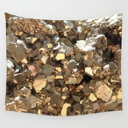 Golden Pyrite Mineral Wall Tapestry