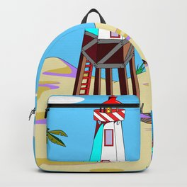 A Lighthouse on the Beach with Palm Trees Backpack