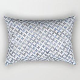 MODERN HOUNDSTOOTH (BLUE), hand-painted by Frank-Joseph Rectangular Pillow