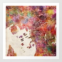 oslo Art Prints featuring Oslo by MapMapMaps.Watercolors