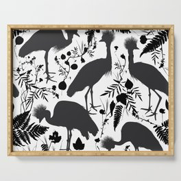 Black crowned crane with grass and flowers black silhouette Serving Tray