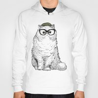 persian Hoodies featuring Hipster Persian Cat by Huebucket